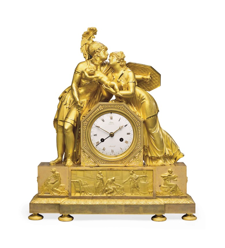 An Empire ormolu striking mantel clock, early 19th century, the case by Antoine-Andre Ravrio. 23 in (58.5 cm) high, 19½ in (49.5 cm) wide, 6 in (15 cm) deep. Sold for $30,000 on 21 October 2014 at Christie's in New York