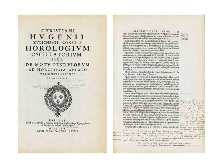 Christiaan Huygens (1629-1695). Horologium oscillatorium sive de motu pendulorum ad horologia aptato demonstrationes geometricae. Paris, 1673.Sold for $965,000 on 4 December 2014 at Christie's in New York