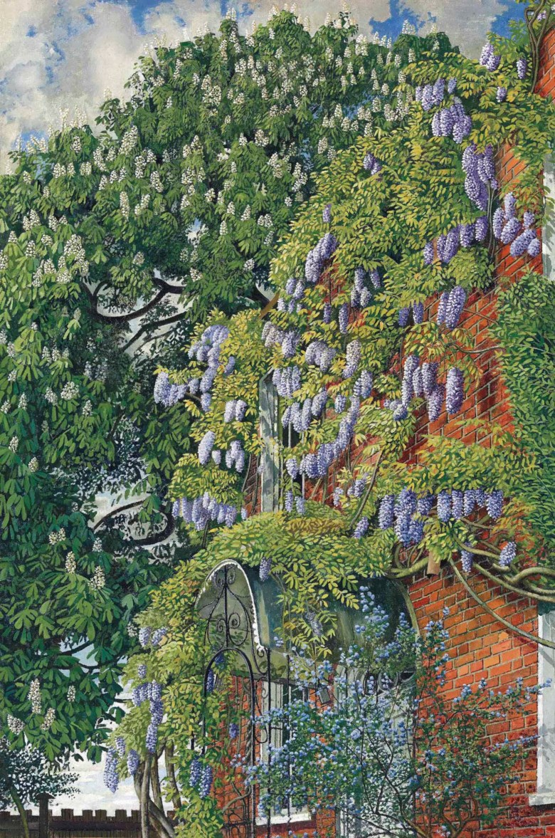 Sir Stanley Spencer, R.A. (1891-1959), Wisteria at Englefield, 1954. Oil on canvas. 30 x 20  in (76.3 x 50.8  cm). Sold for £962,500 on 25 June 2015 at Christie's in London. Artwork©Stanley Spencer Gallery, Cookham, Berkshire, UK  Bridgeman Images