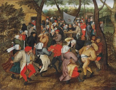 Pieter Brueghel II (Brussels 15645-16378 Antwerp), The Outdoor Wedding Dance. 16 x 20½  in (40.5 x 52  cm). Oil on oak panel. Sold for £1,202,500 on 9 July 2015 at Christie's in London