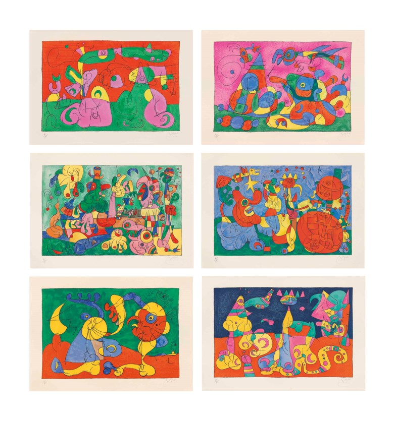 Joan Miró, Suites pour Ubu Roi, 1966. The complete set of 39 lithographs, including 26 in colours, on Arches paper. 570 x 785  mm (overall). Sold for £64,900 on 18 March 2015 at Christie's in London.© Successió Miró  ADAGP, Paris and DACS London 2020