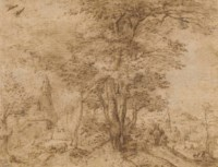 A village with a group of trees and a mule