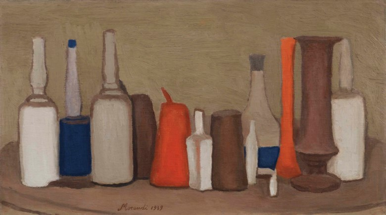 Giorgio Morandi (1890-1964), Natura morta, painted in 1939. 12⅝ x 22¼ in (32 x 56.5 cm). Sold for £2,546,500 on 16 October 2015 at Christie's in London © DACS 2019
