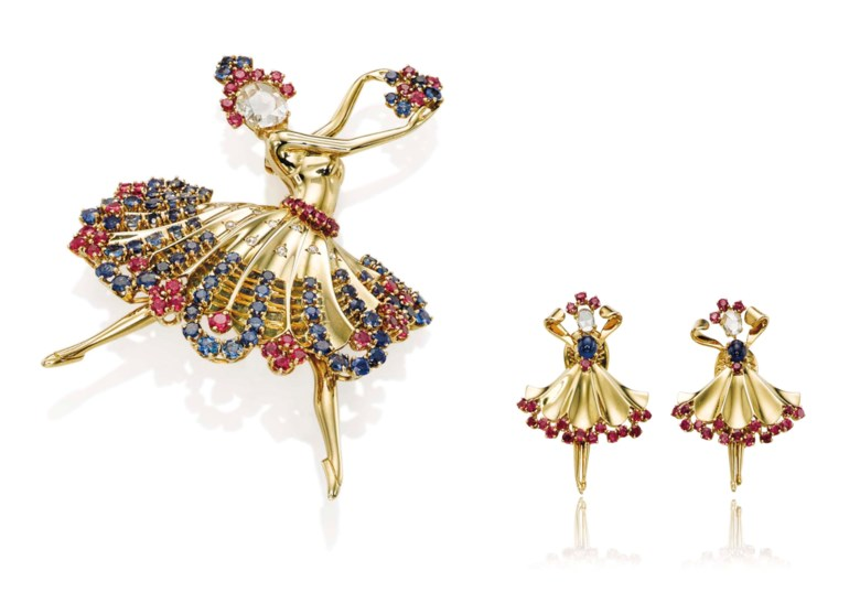 A multi-gem Ballerina brooch and a pair of earrings,by Van Cleef & Arpels. Sold for CHF 233,000 on 10 November 2015  at Christie's in Geneva