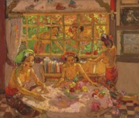 Women in a Balinese Interior with Women by the Window