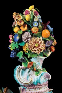 FOUR MONUMENTAL MEISSEN PORCELAIN FRUIT AND FLOWER ENCRUSTED VASES AND COVERS