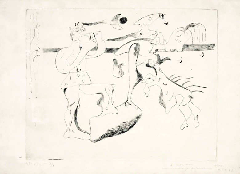 Joan Miró (1893-1983), Daphnis et Chloé, 1933. Drypoint, on Arches paper. Sheet 13 x 19⅞ in (330 x 505 mm). Sold for $8,125 on 27-28 October 2015 at Christie's in New York.© Successió Miró  ADAGP, Paris and DACS London 2020