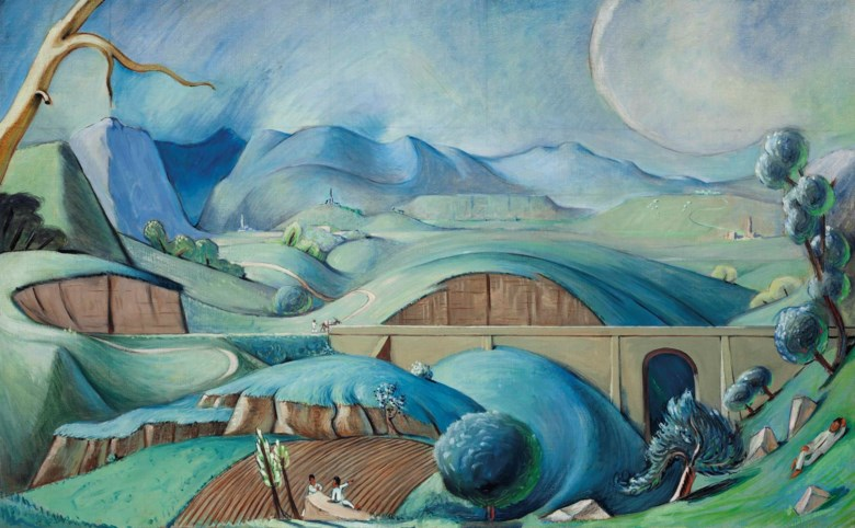 Jean Charlot (1898-1979), Landscape, 1930. Oil on canvas. 30⅛ x 48¼  in (76.5 x 122.6  cm). Sold for $56,250 on 20-21 November 2015 at Christie's in New York. Artwork © DACS 2020