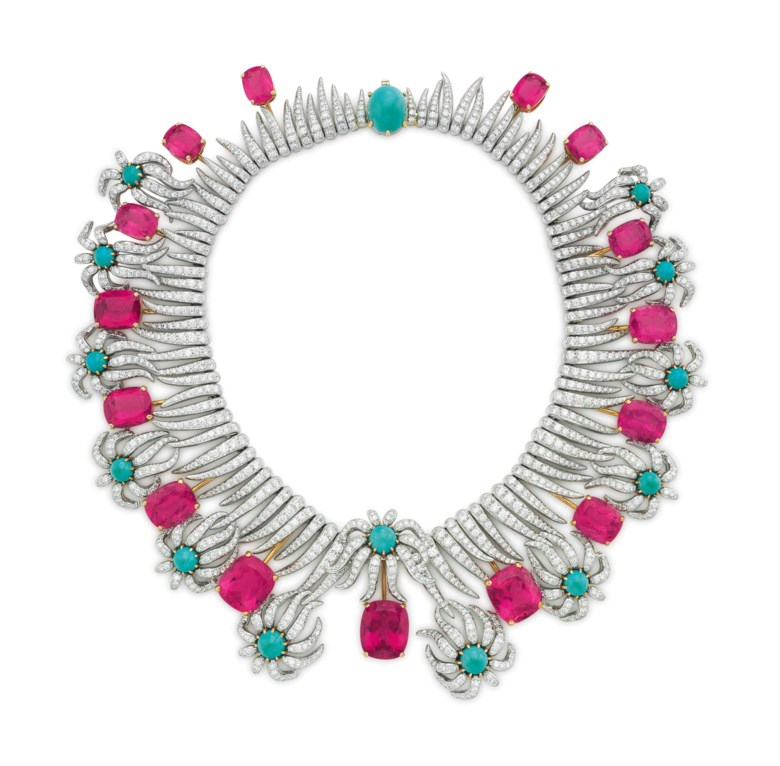 Property from the Estate of Carroll Petrie.A multi-gem and diamond 'Hedges and Rows' necklace, by Jean Schlumberger, Tiffany & Co.Sold for $905,000 on 10 December 2015 at Christie's in New York