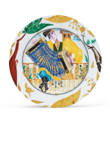 A Soviet porcelain plate 'The Accordion Player', by the Imperial Porcelain Factory, 1896, and the State Porcelain Factory, Petrograd, 1923-1924. After a design by Alexandra Shchekotikhina-Pototskaya. Diameter 11  in (28  cm). Sold for £53,750 on 28 November 2016 at Christie's in London