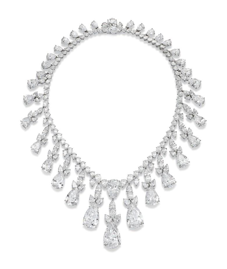 An impressive diamond fringe necklace, by Harry Winston. Sold on 15 November 2016 at Christie's in Geneva