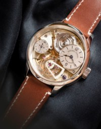 GREUBEL FORSEY, PHILIPPE DUFOUR AND MICHEL BOULANGER. AN EXCEPTIONAL, EXTREMELY RARE AND VERY FINE 18K WHITE GOLD SEMI-SKELETONISED TOURBILLON PROTOTYPE WRISTWATCH