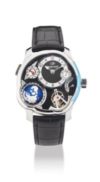 GREUBEL FORSEY. A VERY FINE, IMPRESSIVE AND VERY RARE PLATINUM 25° INCLINED 24 SECONDS TOURBILLON DUAL TIME ZONE WORLD TIME ASYMMETRICAL WRISTWATCH WITH POWER RESERVE AND 3D GLOBE