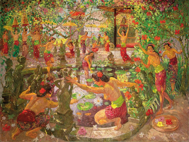Adrien-Jean le Mayeur de Merprès (1880-1958), Women Around the Lotus Pond, circa 1950-1951. Oil on canvas. 150 x 200  cm (59 x 78¾  in). Sold for HK$30,360,000 on 30 May 2016 at Christie's in Hong Kong. Artwork© DACS 2020