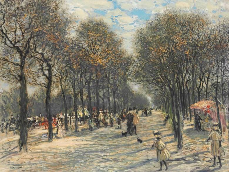 Jean François Raffaëlli (1850-1924), Allée darbres aux Champs-Elysées. 27⅛ x 35⅞  in (69 x 91  cm). Sold for $305,000 on 25 April 2016 at Christie's in New York
