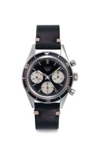 Heuer. A Stainless Steel Chronograph Wristwatch with Black Dial