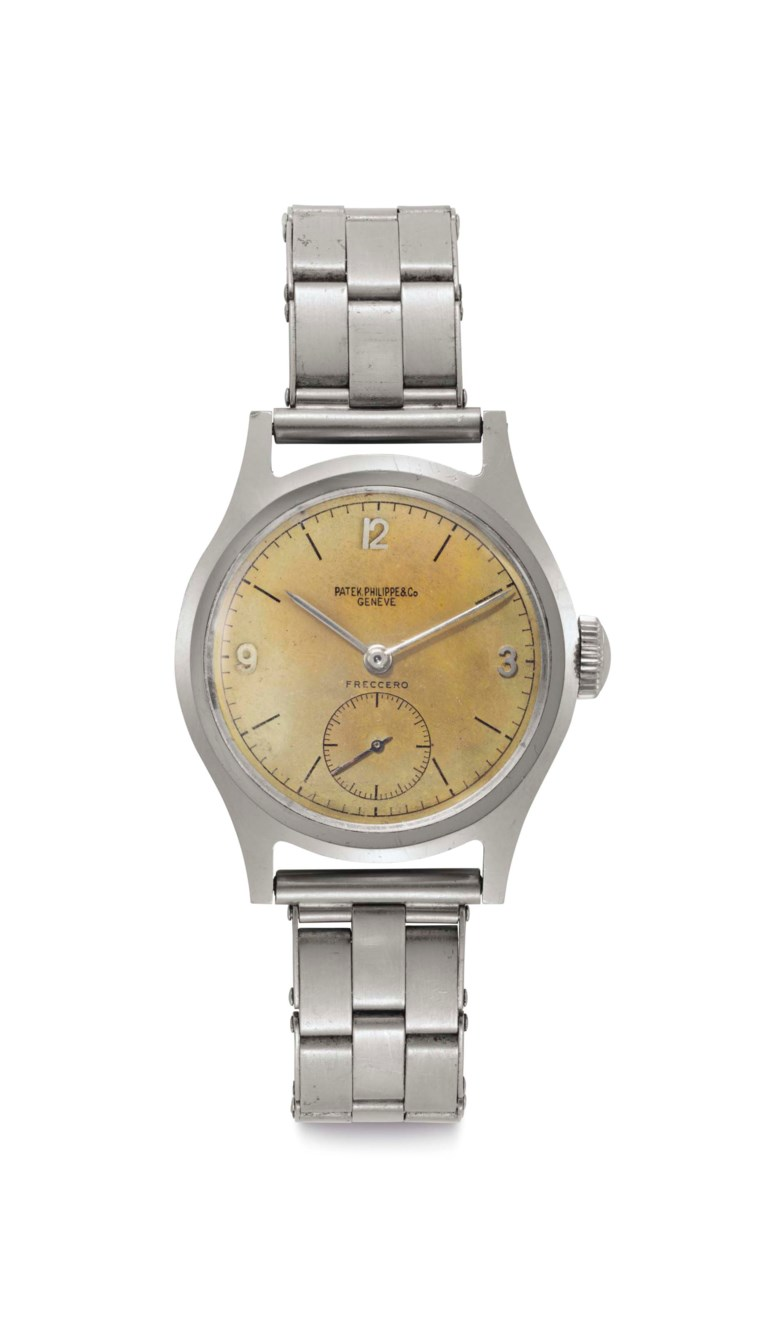 Patek Philippe. A stainless-steel wristwatch with 'tropical' dial and bracelet. Signed Patek Philippe & Co., Genève. Retailed by Freccero. Ref. 565. Movement No. 926255. Case No. 634112. Manufactured in 1944. Sold for $77,500 on 6 December 2016