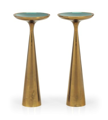 Fontana Arte, A pair of side tables, circa 1960. Each 26  in (63.5  cm) high, 10  in (25.4  cm) wide. Sold for $43,750 on 12 December 2016 at Christie's in New York
