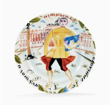 A Soviet propaganda porcelain plate 'commissar', by the State Porcelain Factory, Petrograd, 1921. After the design by Alexandra Shchekotikhina-Pototskaya. Diameter 8⅝  in (21.8  cm). Sold for £22,500 on 5 June 2017 at Christie's in London