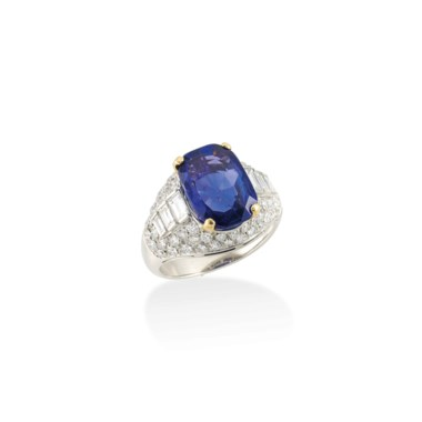 A sapphire and diamond 'Trombino' Ring, by Bulgari. Sold for £27,500 on 13 June 2017 at Christie's in London
