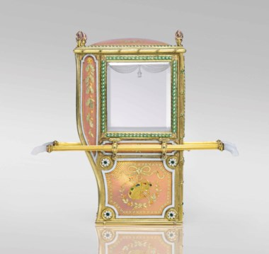 An exceptional and rare guilloché enamel and varicolour gold miniature model of a sedan chair marked Fabergé, 1899-1903. 3½  in (9  cm) high. Sold for £788,750 on 27 November 2017 at Christie's in London