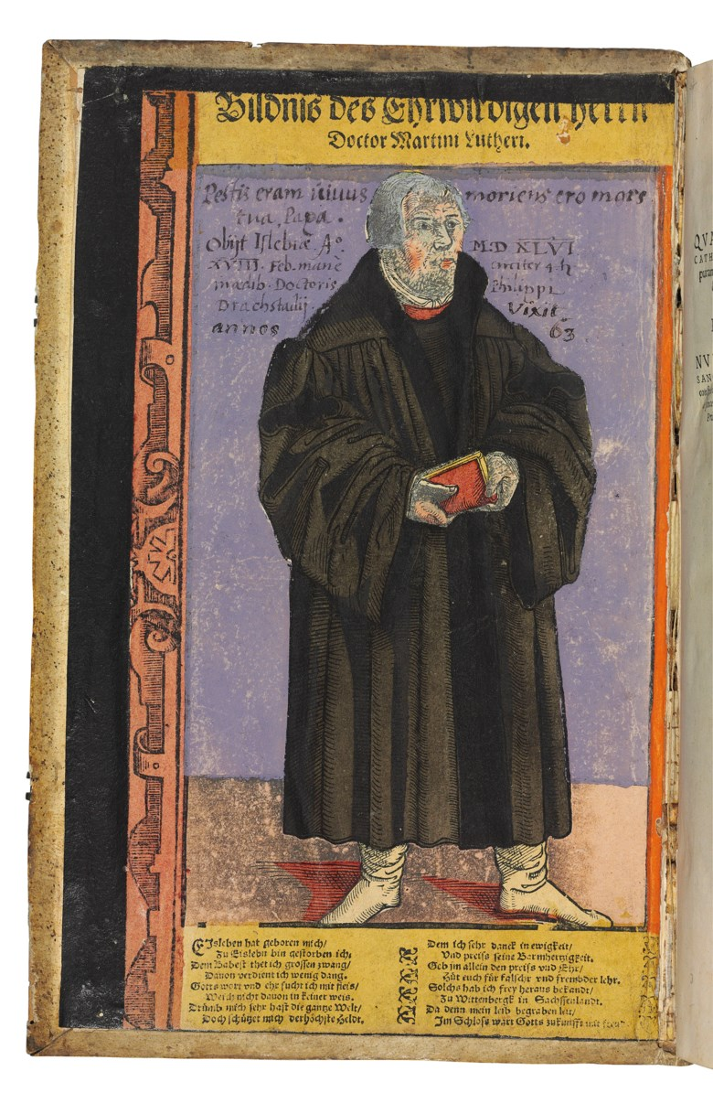First Latin edition, preserving rare, possibly unique, single-sheet woodcuts of Martin Luther and Philipp Melanchthon, with contemporary colouring, as pastedowns.Leipzig Ernest Vögelin, January 1560. Soldon 12 July 2017 for £20,000 at Christie's London.