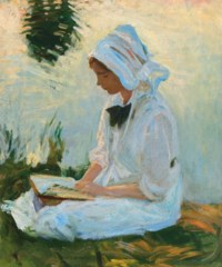 Girl reading by a stream