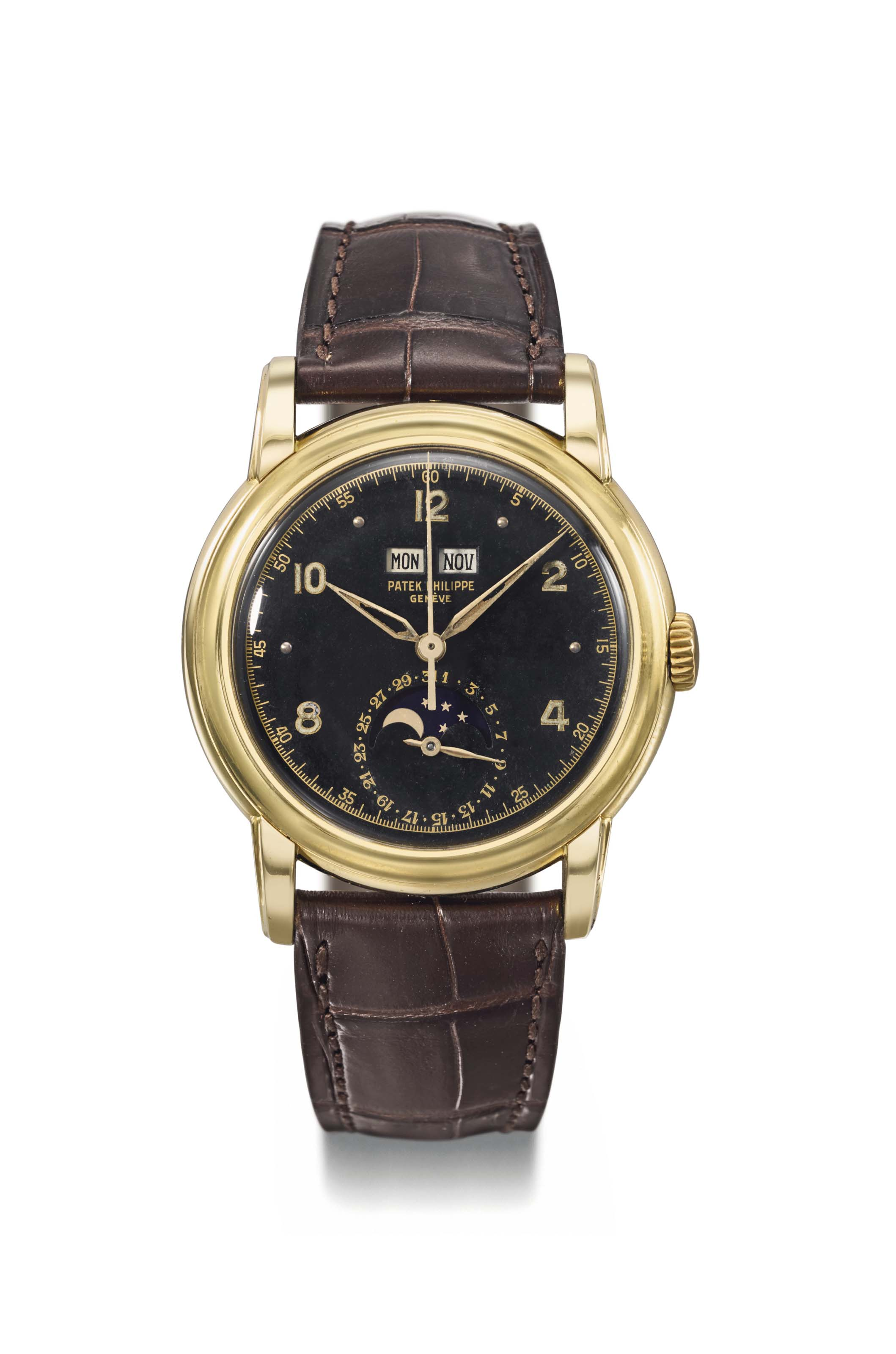 Patek Philippe. An exceptionally important, possibly unique and previously unknown 18K gold perpetual calendar wristwatch with sweep centre seconds, moon phases, black luminous military-style dial, luminous Alpha hands, engraved case back, formerly the property of His Majesty, King of Kings, Emperor Haile Selassie I of Ethiopia