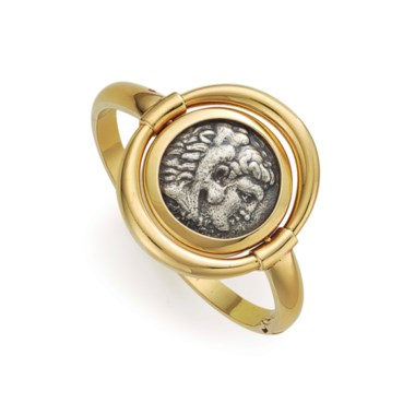 A coin and gold bangle bracelet, by Bulgari. Sold for $20,000 on 26 April 2017 at Christie's in New York