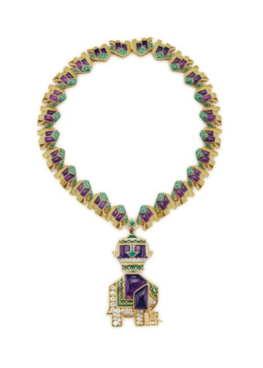 An amethyst, diamond and enamel pendant necklace, by Bulgari. Sold for $225,000 on 6 December 2017 at Christie's in New York