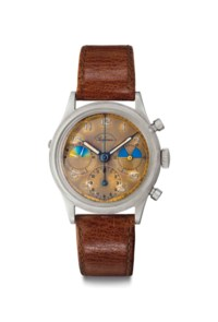"""Heuer. A Very Rare and Early Stainless Steel Chronograph Wristwatch with """"Tropical"""" Dial"""