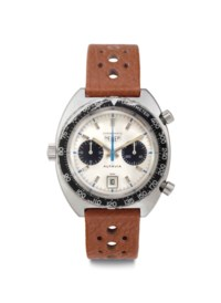 """Heuer. An Extremely Rare Stainless Steel Automatic Chronograph Wristwatch with Date and """"Jo Siffert"""" Dial"""
