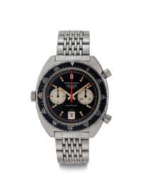 Heuer. A Very Fine and Rare Stainless Steel Automatic Chronograph Wristwatch with Date and Bracelet