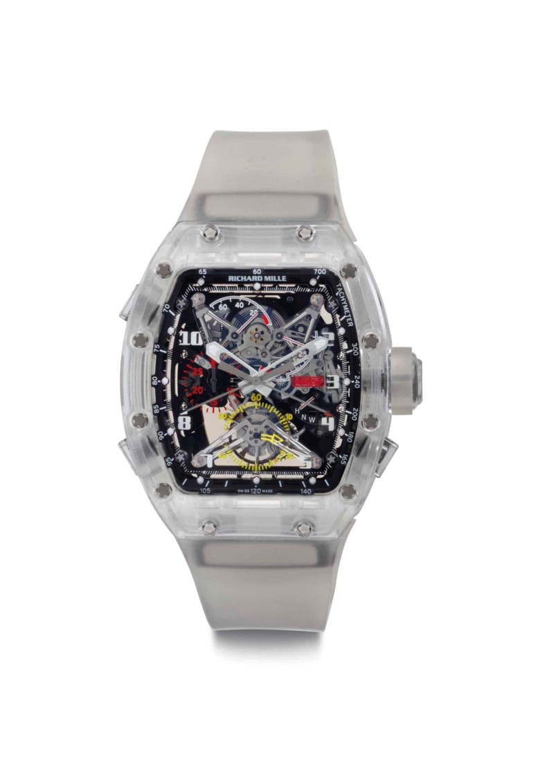 Richard Mille. A sapphire split-seconds chronograph wristwatch with tourbillon and power reserve. Prototype, No. 2, Ref. RM056, circa 2012. Sold for $1,207,500 on 21 June 2017 at Christie's in New York