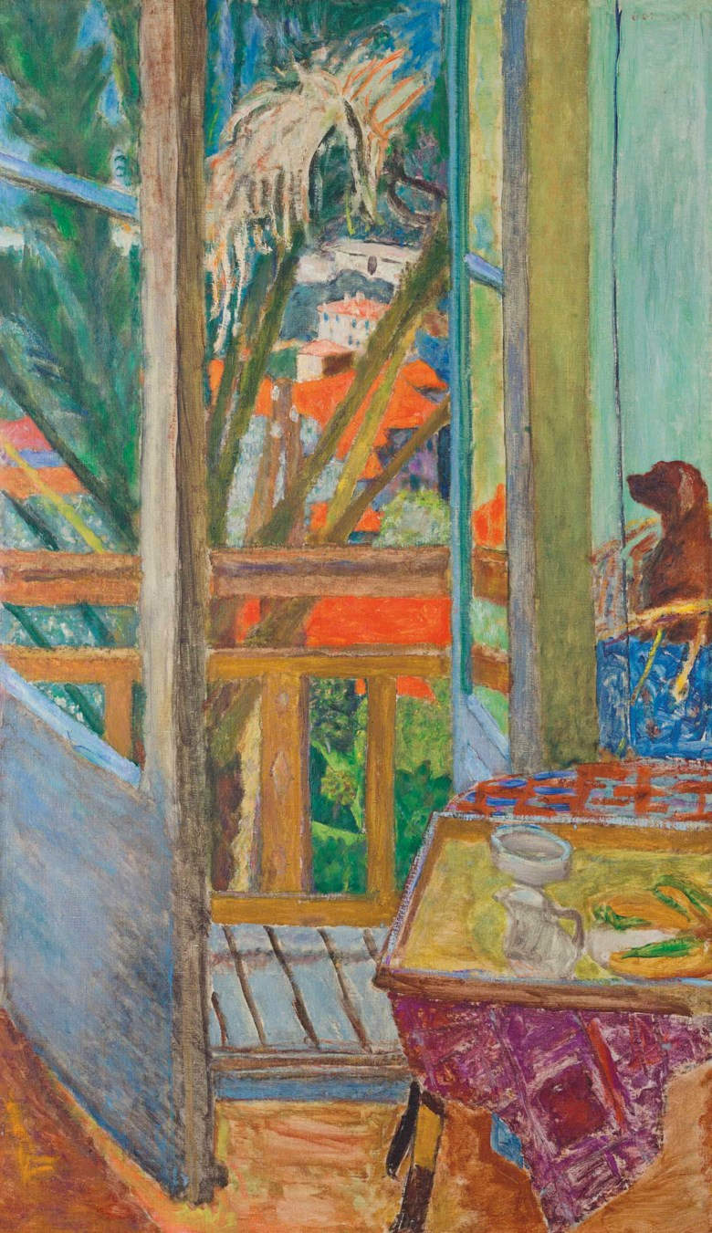 Pierre Bonnard (1867-1947), La porte-fenêtre avec chien, 1927. Oil on canvas. 42¼ x 24⅞  in (107.3 x 63.2  cm). Sold for $4,212,500 on 13 November 2017 at Christie's in New York