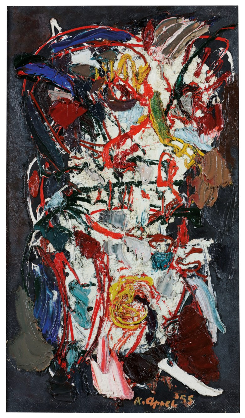Karel Appel (1921-2006), LHomme de la Terre (Man of the Earth), painted in 1955. 117 x 67.5 cm. Estimate €180,000-250,000. This lot is offered in Post-War & Contemporary Art on 26-27 November 2018 at Christie's in Amsterdam