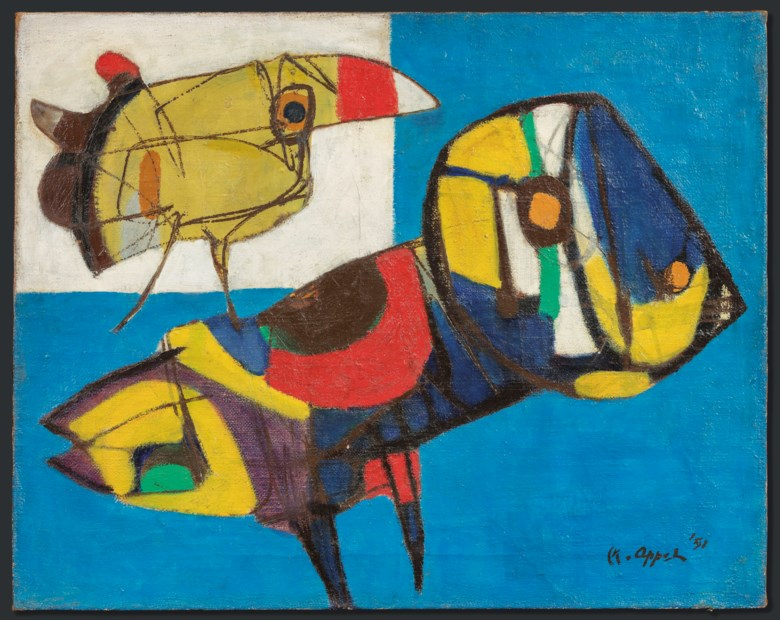Karel Appel (1921-2006), La Fleur et les oiseaux (The Flower and the Birds), painted in 1951. 73 x 92 cm. Estimate €250,000-350,000. This lot is offered in Post-War & Contemporary Art on 26-27 November 2018 at Christie's in Amsterdam