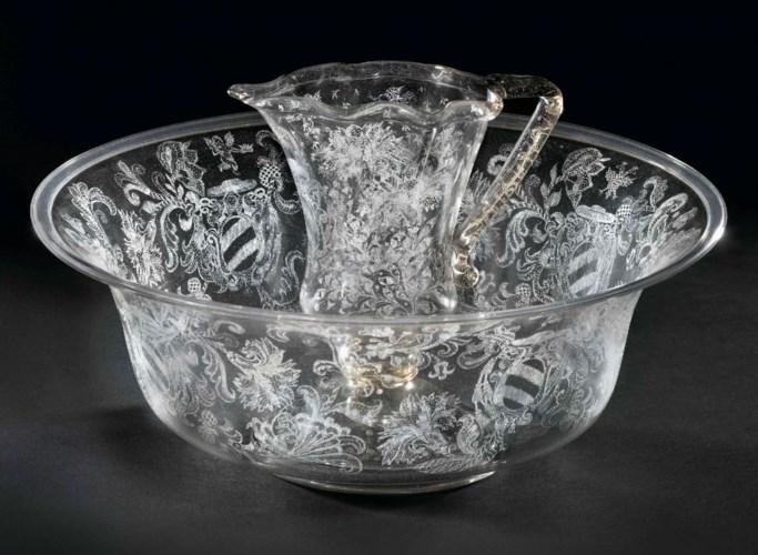 A VENETIAN GLASS DIAMOND-ENGRA
