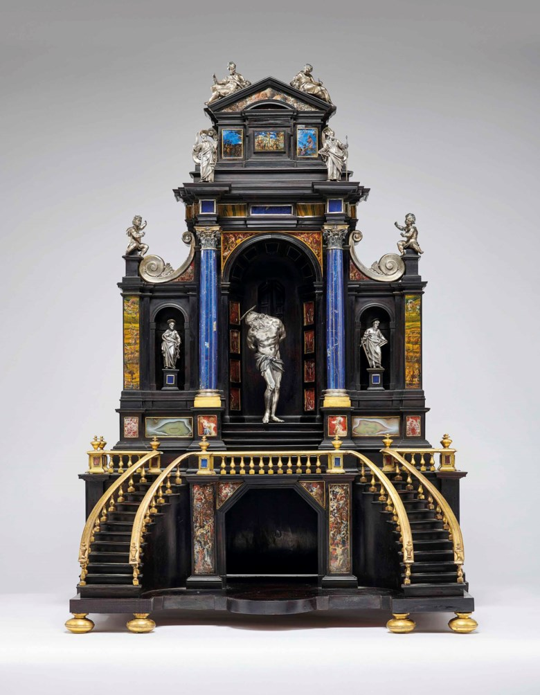 A silver, gilt-bronze, ebony and painted hardstone architectural tabernacle, Rome, circa 1600-1625. 41⅜ x 28⅞ x 17⅛  in (105 x 73.5 x 43.3 cm). Estimate £100,000-150,000. Offered in The Exceptional Sale 2018 on 5 July 2018 at Christie's in London