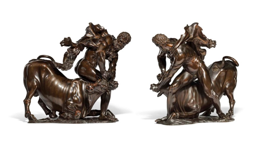 A BRONZE GROUP OF HERCULES OVE