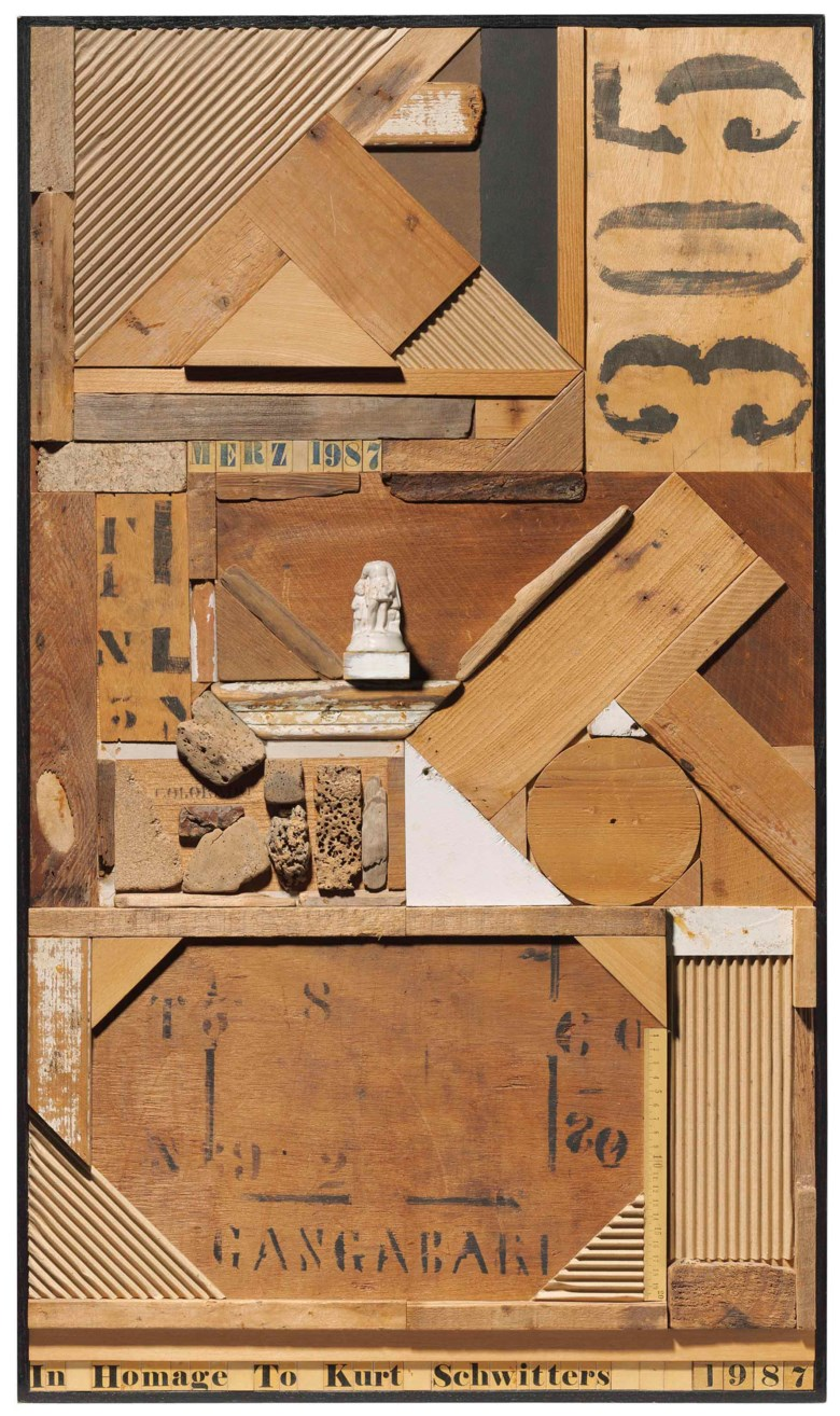 Sir Peter Blake, R.A. (b. 1932), In Homage to Kurt Schwitters, 1987. 39⅜ x 23  in (100 x 58.5  cm). Estimate £25,000-35,000. This lot is offered in Modern British Art Day Sale on 20 June 2018 at Christie's in London