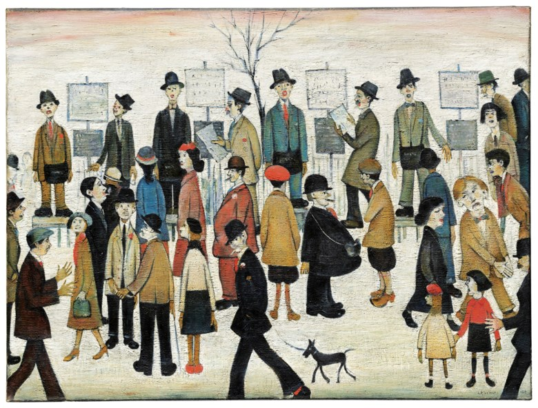 Laurence Stephen Lowry, R.A. (1887-1976), A Northern Race Meeting, painted in 1956. 30 x 40 in (76.2 x 102 cm). Sold for £5,296,250 on 19 November 2018 at Christie's in London. Artwork © The Estate of L.S. Lowry. All Rights Reserved, DACS 2019