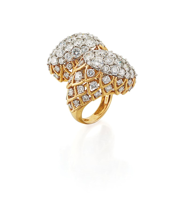 Diamond Cocktail Ring, David Webb. Offered in Important Jewels on 13 June 2018 at Christie's in London and sold for £22,500
