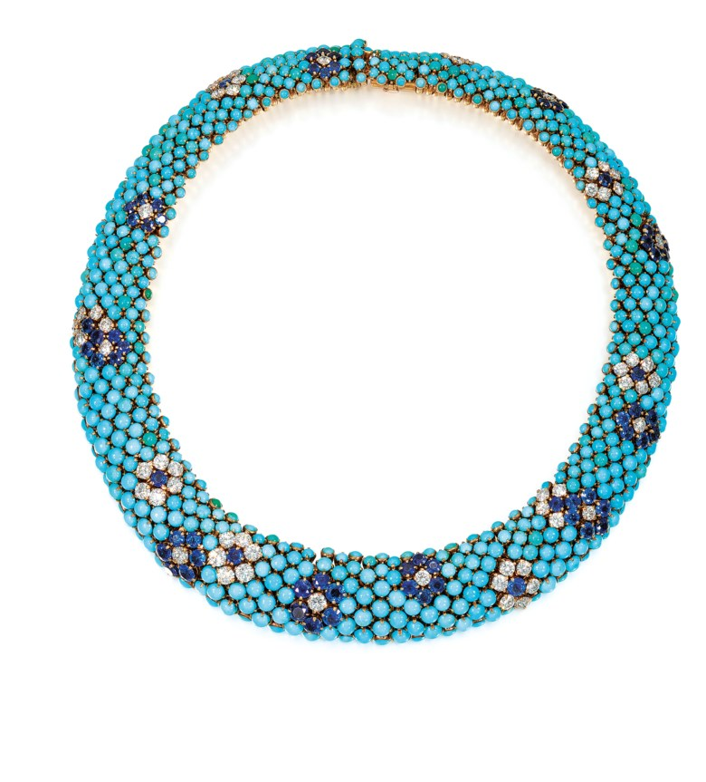 Turquoise, Sapphire and Diamond Collar Necklace, Van Cleef & Arpels, circa 1960. Circular cabochon turquoise, circular-cut sapphires and diamonds, signed Van Cleef & Arpels, numbered, original black Van Cleef & Arpels case. Diameter 35.2 cm. Offered in Important Jewels on 13 June 2018 at Christie's in London and sold for £85,000