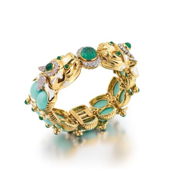 Turquoise, Emerald, Diamond and Enamel Leopard Bracelet, David Webb. Oval cabochon turquoise, circular and fluted cabochon emeralds, circular-cut diamonds, enamel, inner circumference 16.5 cm, signed David Webb, numbered. Offered in Important Jewels on 13 June 2018 at Christie's in London and sold for £27,500