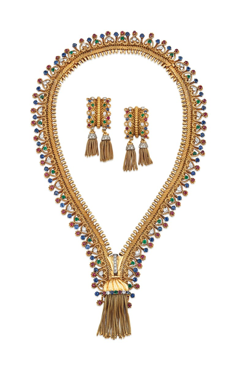 Iconic ruby, sapphire, emerald and diamond 'Zip' necklace and earrings set, Van Cleef & Arpels. Soldfor £464,750on 28 November 2018 at Christie's in London