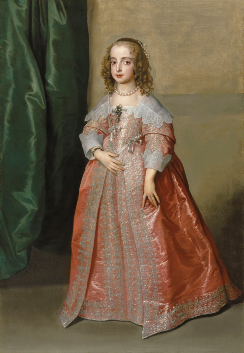 Sir Anthony van Dyck (Antwerp 1599–1641 London), Portrait of Princess Mary (1631–1660), daughter of King Charles I of England, full-length, in a pink dress decorated with silver embroidery and ribbons. Sold for £5,858,750 on 6 December 2018 at Christie's in London