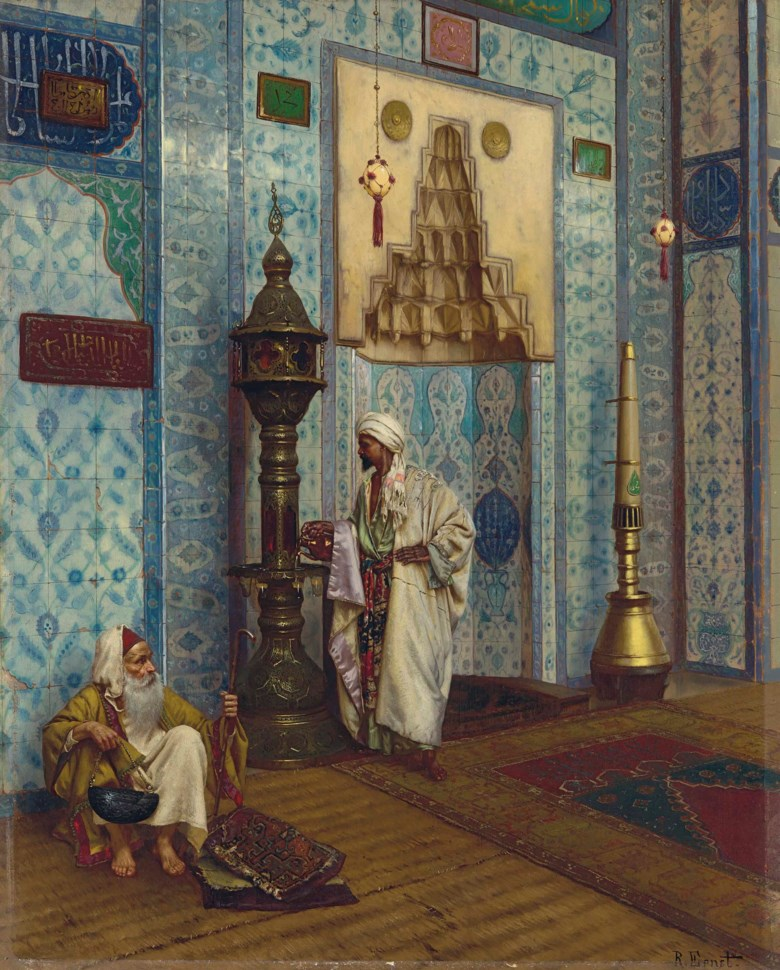Rudolf Ernst (Austrian, 1854-1932), In the Mosque. Oil on panel. 23¼ x 28¾  in (59 x 73  cm). Sold for £488,750 in 19th Century European & Orientalist Art on 12 July 2018 at Christie's in London