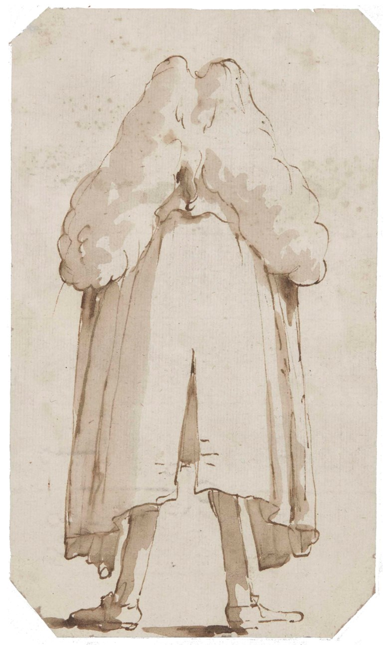 Giovanni Battista Tiepolo (Venice 1696-1770 Madrid), A man with a wig, seen from behind. 7⅜ x 4¼  in (18.9 x 11 cm). Estimate £5,000-7,000. Offered in Old Master & British Drawings & Watercolours  on 3 July 2018 at Christie's in London