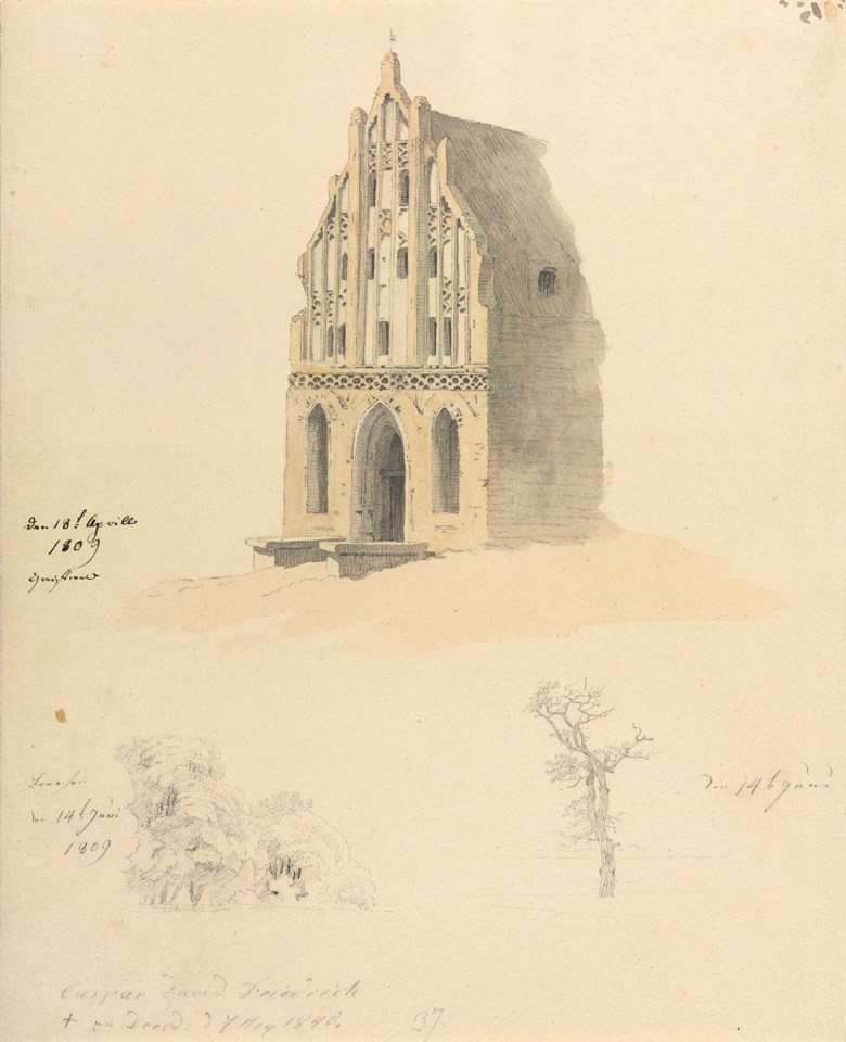Caspar David Friedrich (1774-1840), A Gothic brick building and two studies of trees. 12⅛ x 9⅞  in (30.9 x 25.2 cm). Sold for £212,500 on 3 July 2018 at Christie's in London
